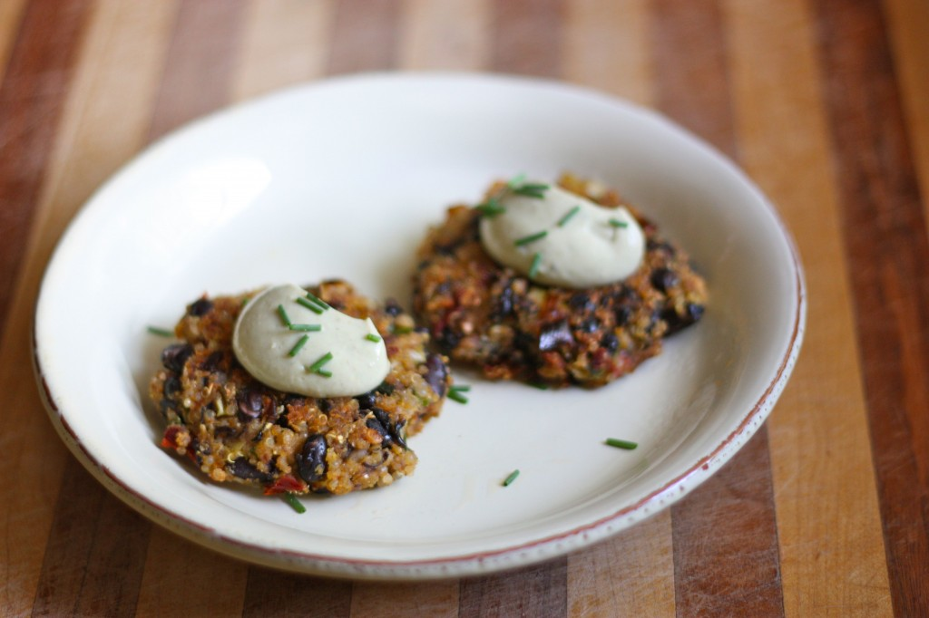 Chipotle Black Bean Fritters with Avocado Crème Sauce
