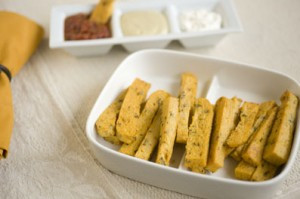Sage Polenta Fries with Basil Cashew Cheese Dipping Sauce