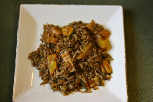 Wild rice pilaf with grilled zucchini and pineapple