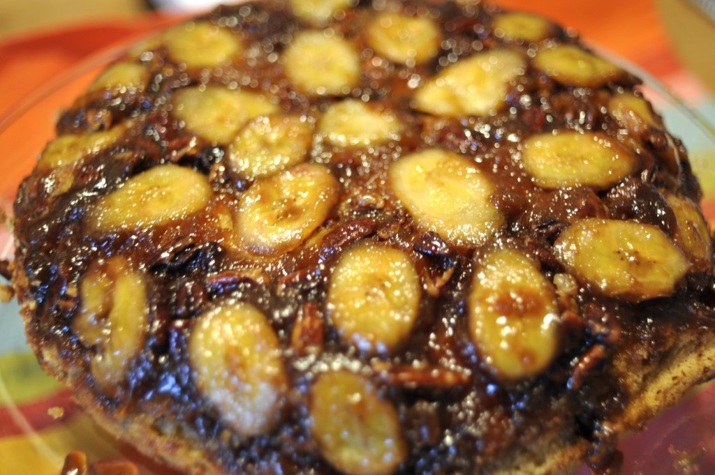 bananas foster cake in cast iron