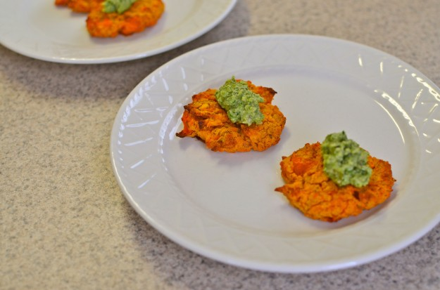 Sweet Potato and Red Lentil Cakes with Pumpkin Seed Pesto