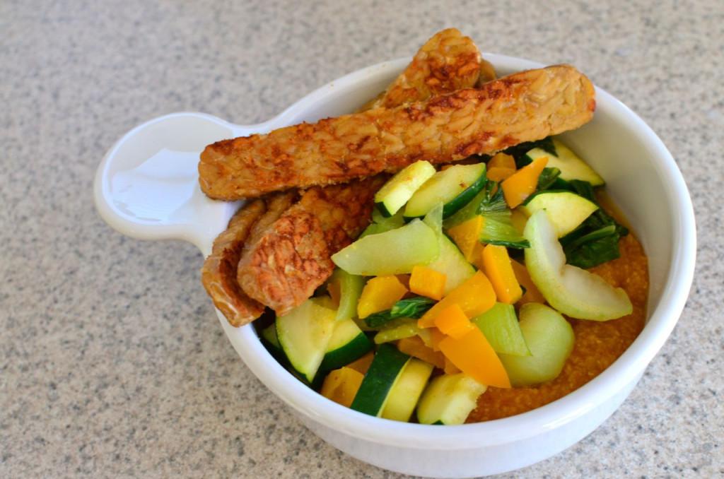 pumpkin polenta with sauteed veggies