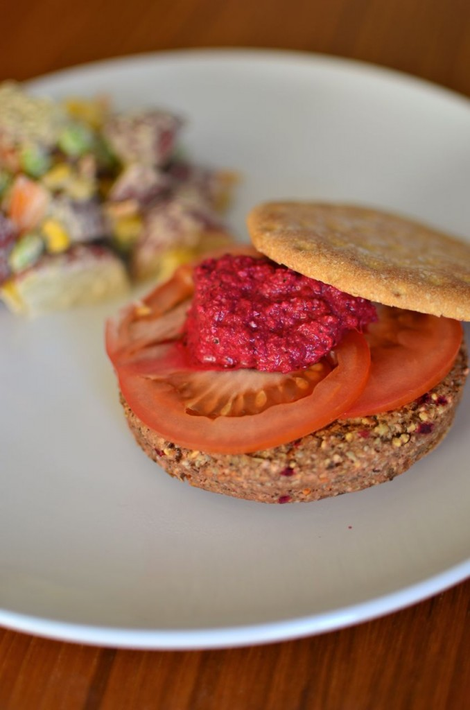 GoodSeed burger with Beet Pesto