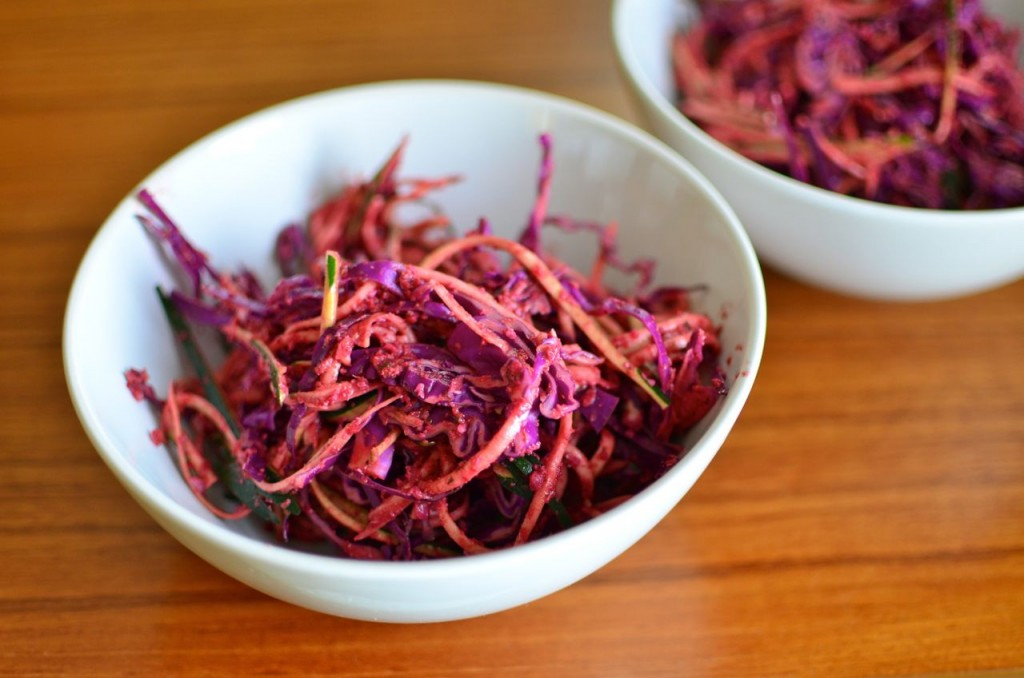 raw pasta with beet pesto