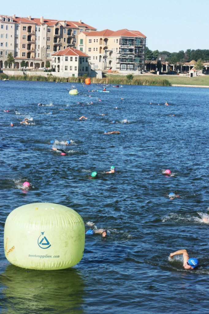 triathlon coming in swim